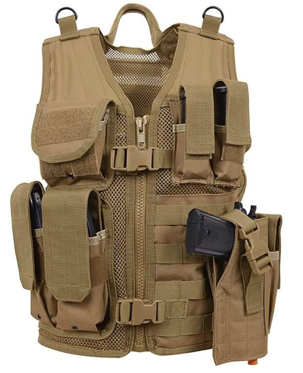 Kids-Army Cross Draw Vest Coyote Tan