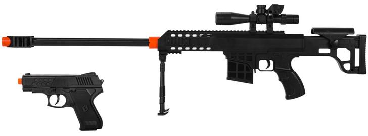 2-IN-1 MINI AIRSOFT BB SPRING SNIPER RIFLE GUN & SIDE-ARM PISTOL - 1/2 SCALE