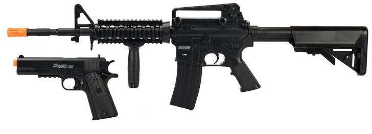 Sig Sauer Patrol Kit w/ Spring Pistol & M4 AEG Airsoft Rifle
