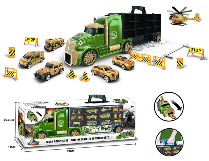 16 in 1 Die-Cast Military Army Big Rig Transporter