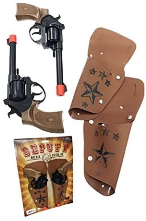 Deputy Cowboy Sheriff Police Replica Pistol Double Holster Set
