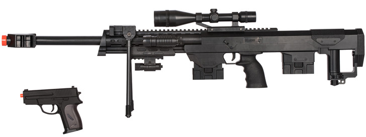 Spring Rifle w/Flashlight Laser and Bonus P211 Spring Pistol