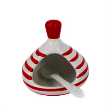 Monchoix Red Ceramic Salt Dish with Spoon
