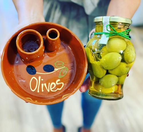 Terracotta Olive Dish-Handpainted