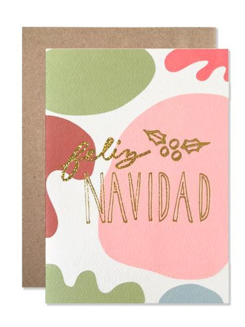 Holiday / Feliz Navidad With Gold Glitter Foil Card