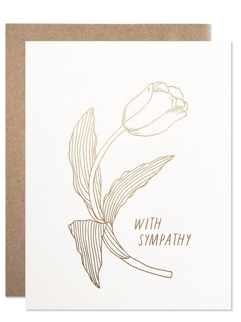 Sympathy / Gold Foil With Sympathy Tulip Card