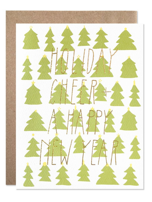 Holiday / Gold Glitter Holiday Cheers Card