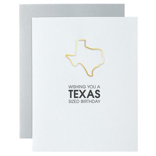 Texas Sized Birthday Paper Clip Letterpress Card