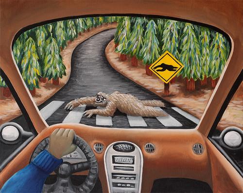 Sloth Crossing (original oil painting)