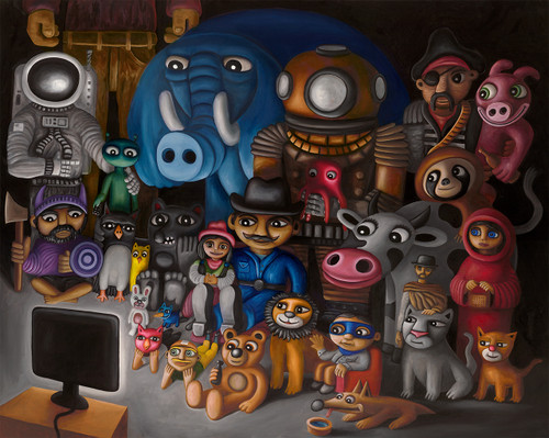 The Family TV (original oil painting)