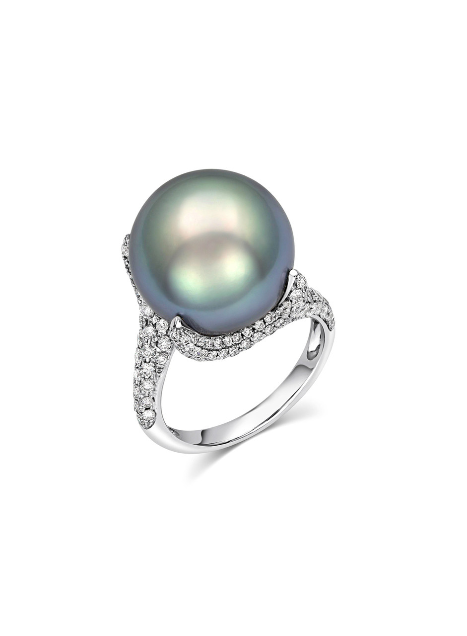 18K Tahitian Cultured Pearl And Diamond Ring