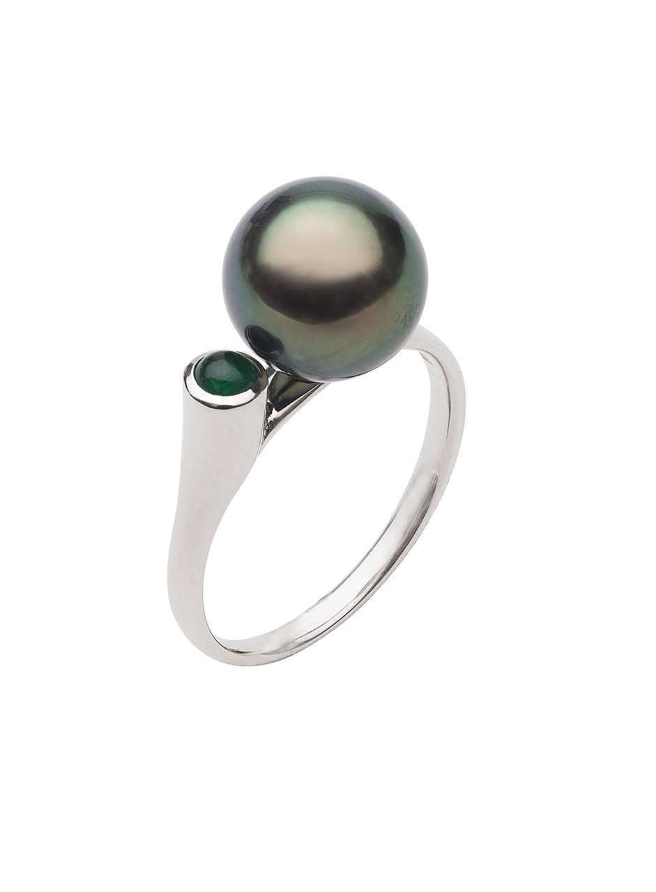 14K 9-10mm Tahitian Cultured Pearl And Emerald Ring