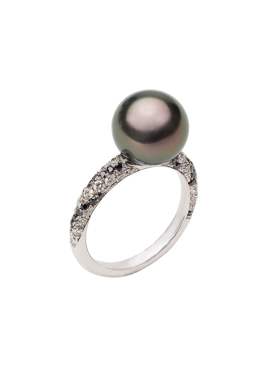 18K Tahitian Cultured Pearl And Diamond 'Twist' Ring