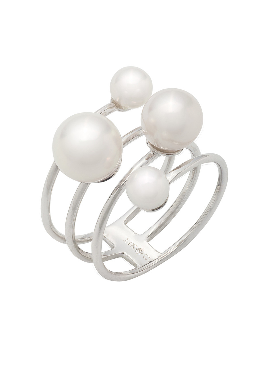 14K Cultured Pearl Multi-Row Ring