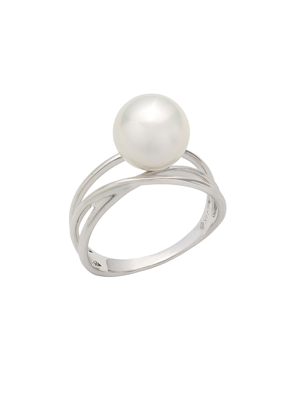 14k South Sea Cultured Pearl Triple Band Ring
