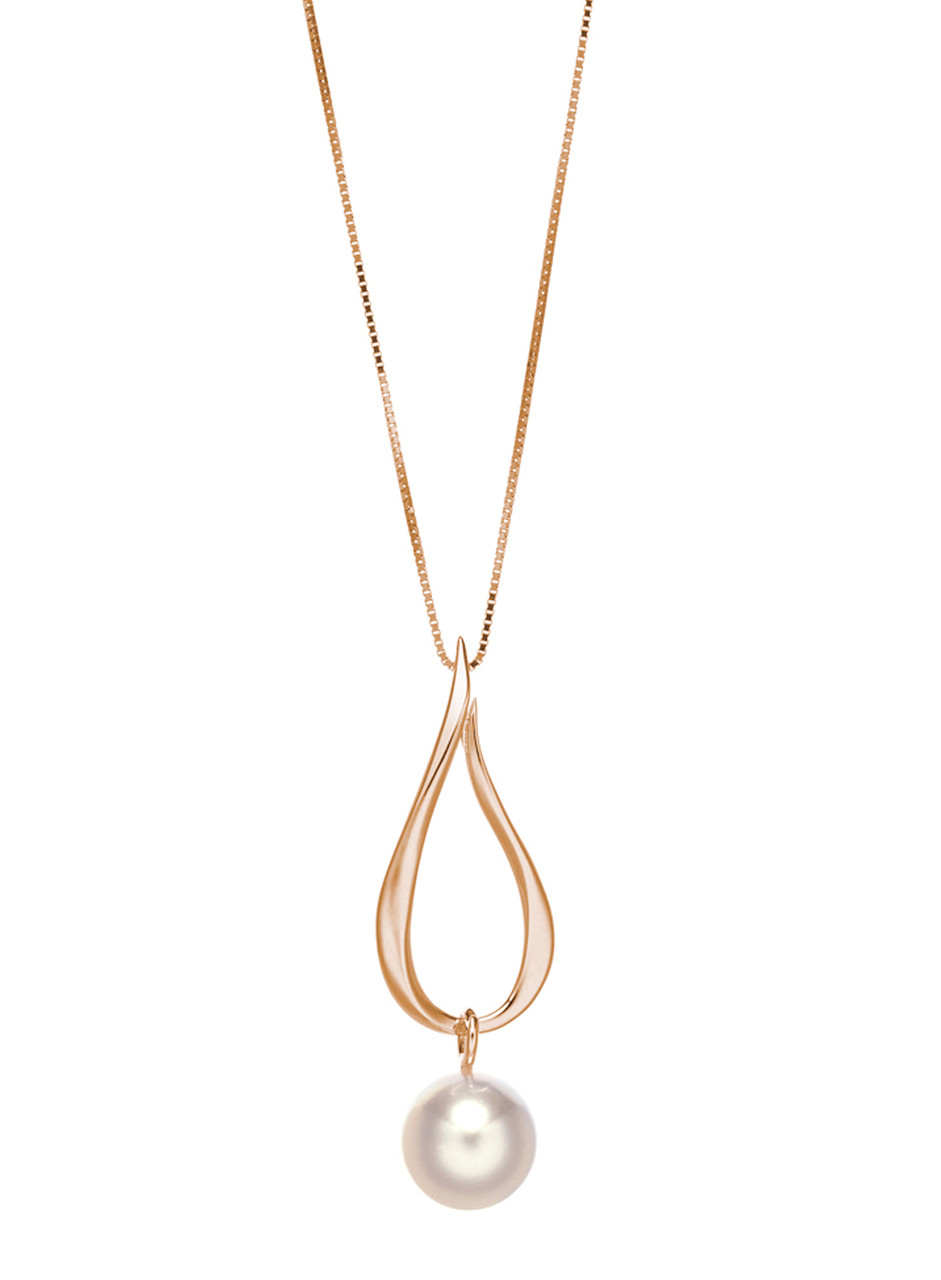 14KRG Akoya Cultured Pearl Open Tear Drop Pendant