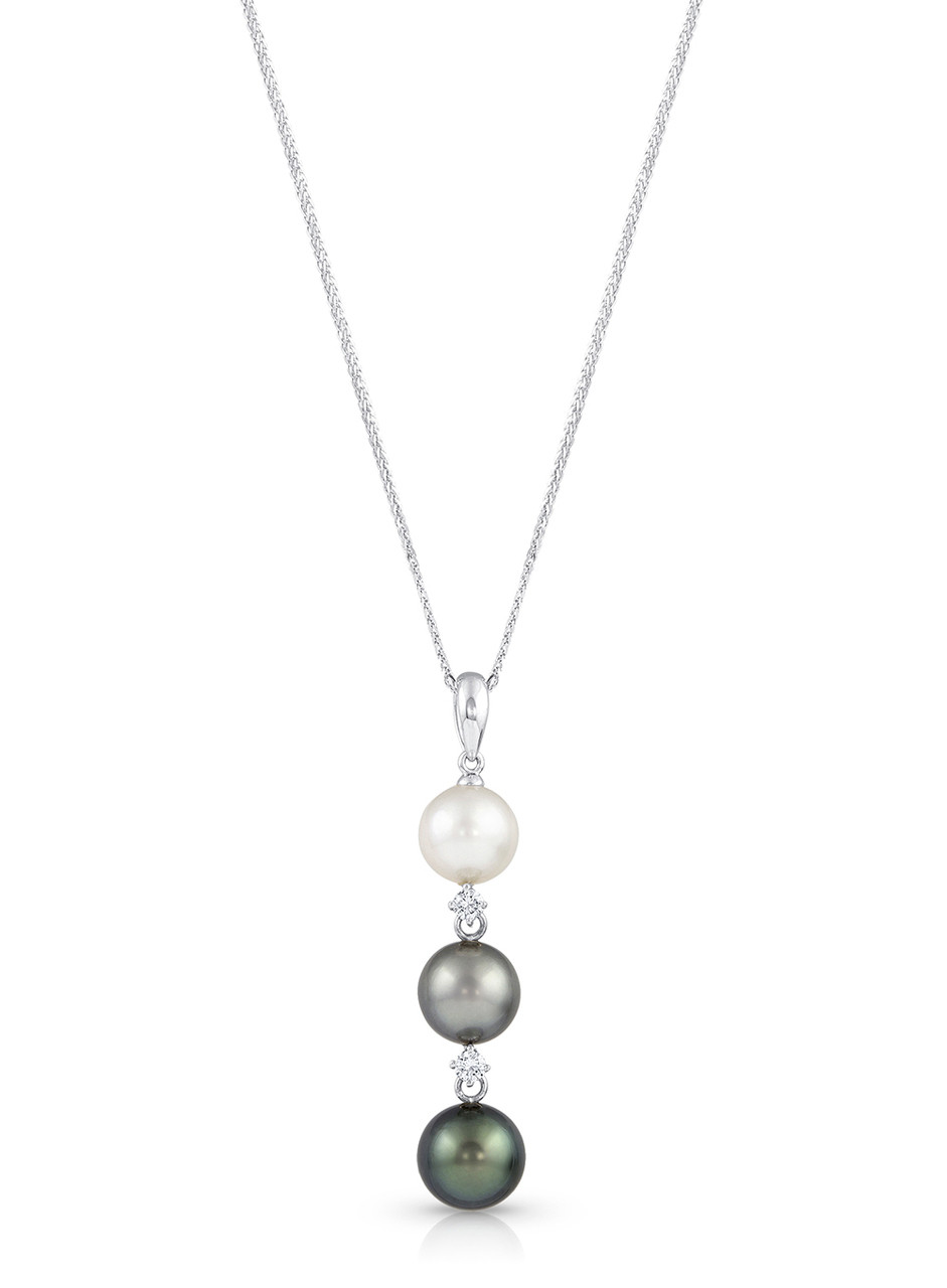 14K Cultured Pearl And Diamond Drop Pendant