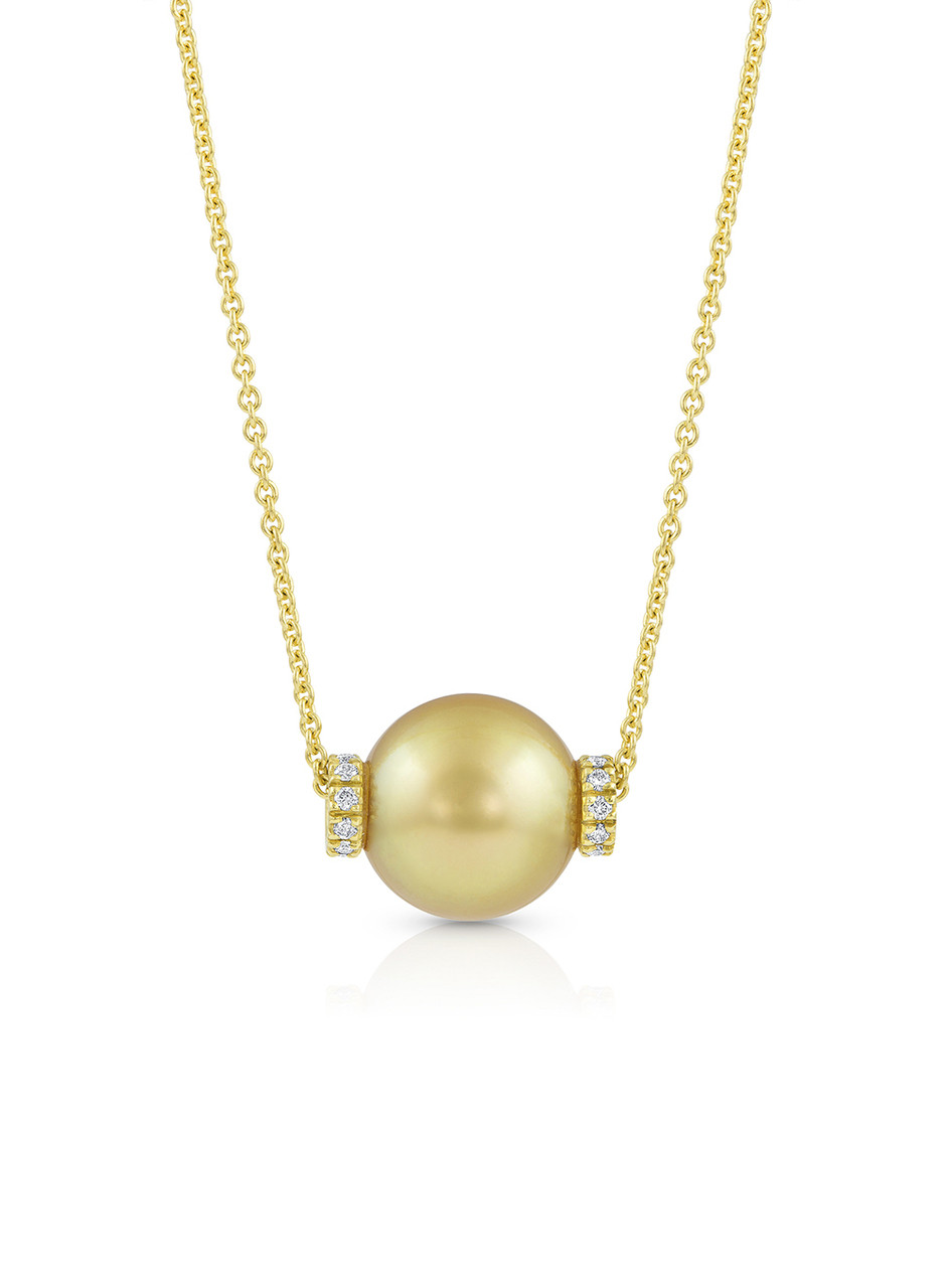 18KYG Golden South Sea Cultured Pearl Rondel Necklace