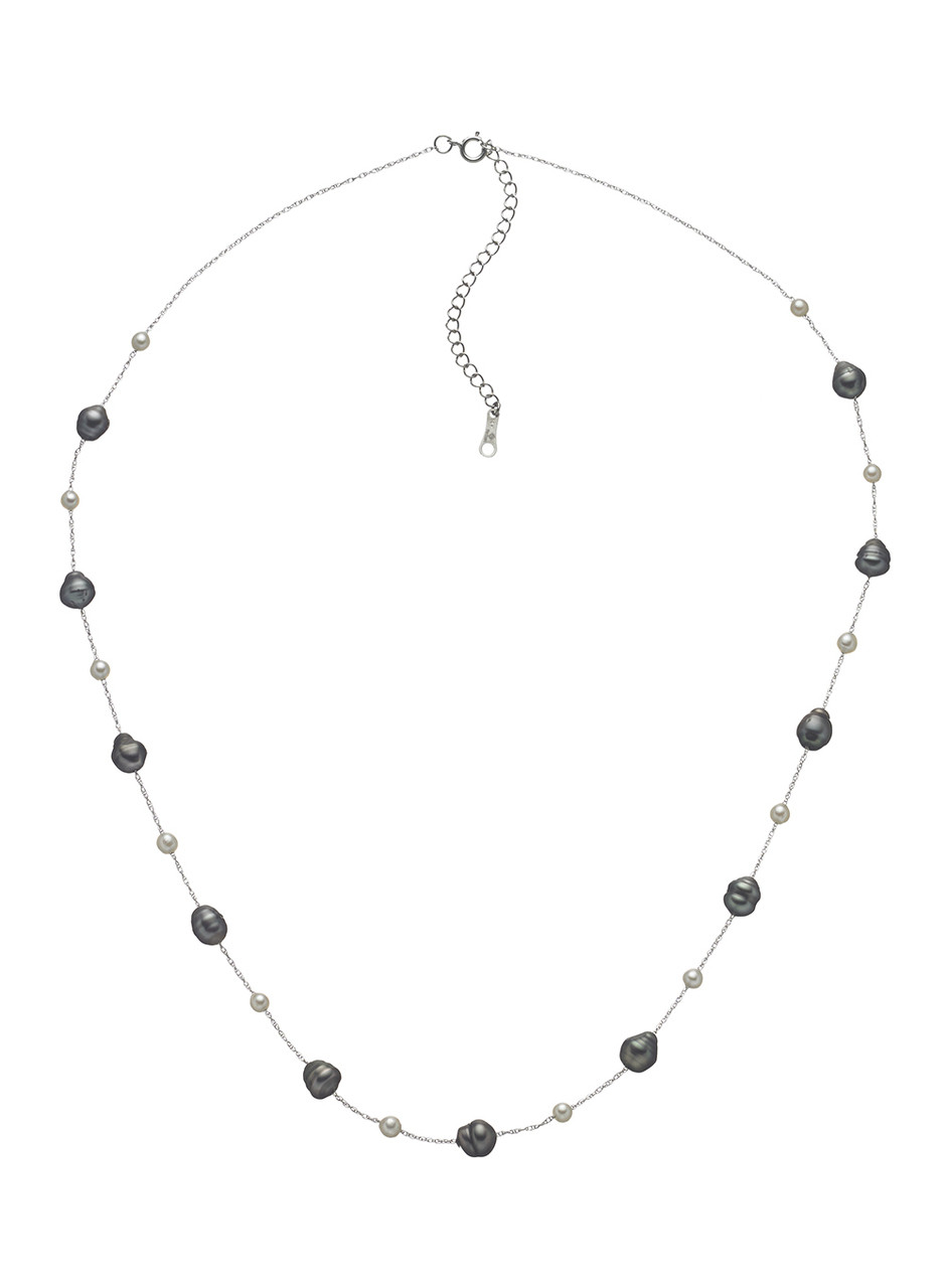 14KWG Cultured Pearl And Chain Necklace