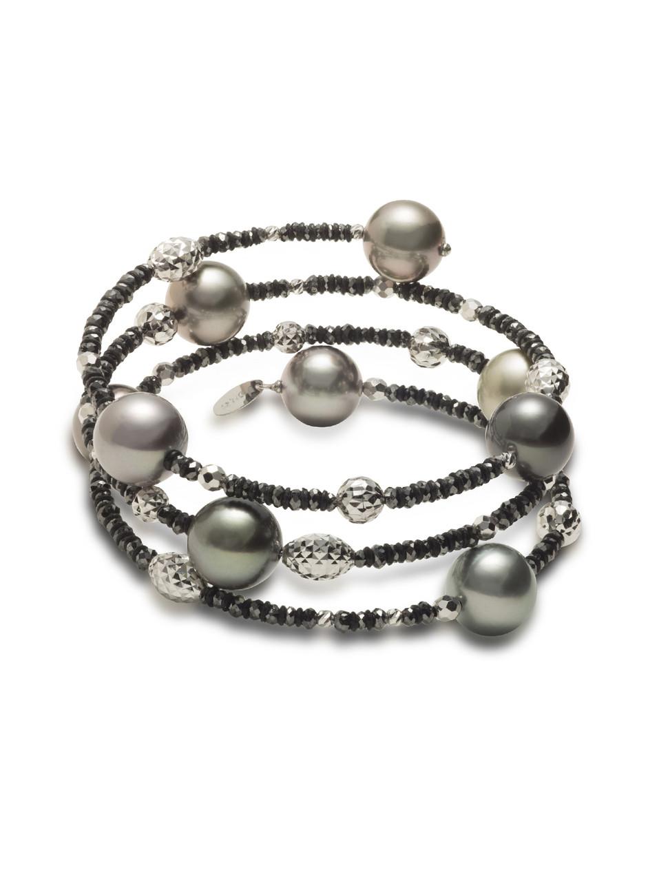 18K Tahitian South Sea Cultured Pearl And Black Diamond Bracelet