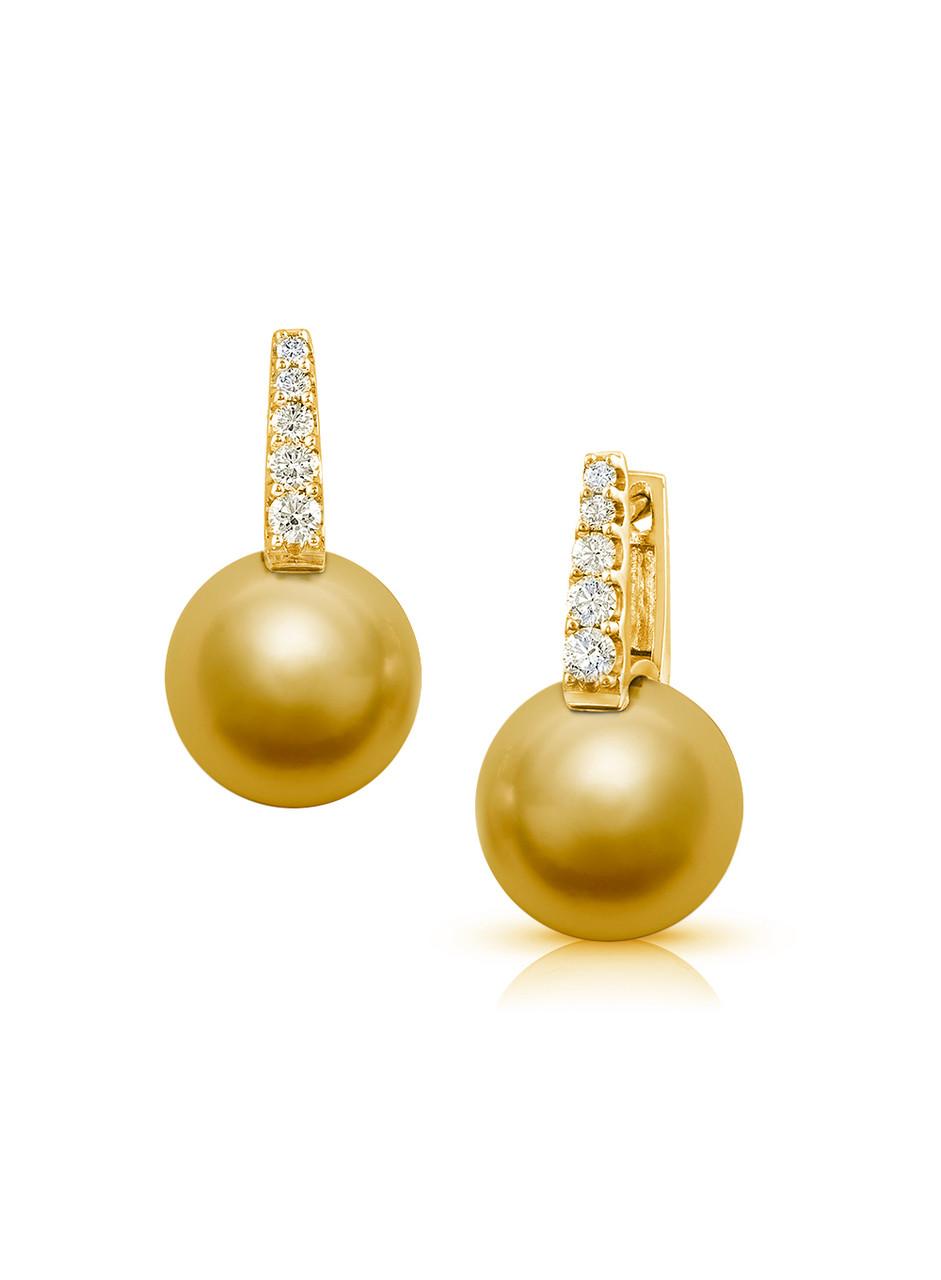 18KYG Golden South Sea Cultured Pearl And Diamond Huggies