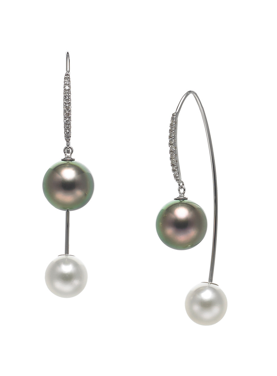 18K Cultured Pearl And Diamond Front To Back Earrings