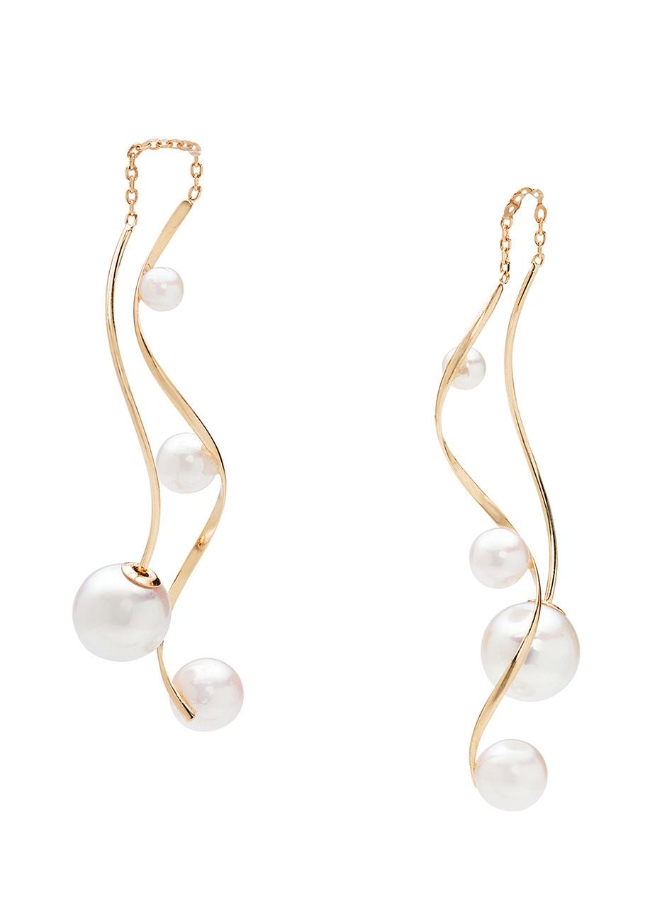 18KYG Cultured Pearl Front To Back Dancing Earrings