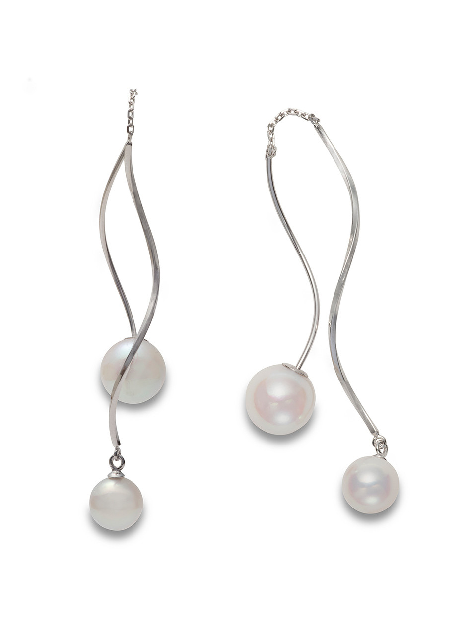 18K Akoya Cultured Pearl Front To Back Swirl Earrings