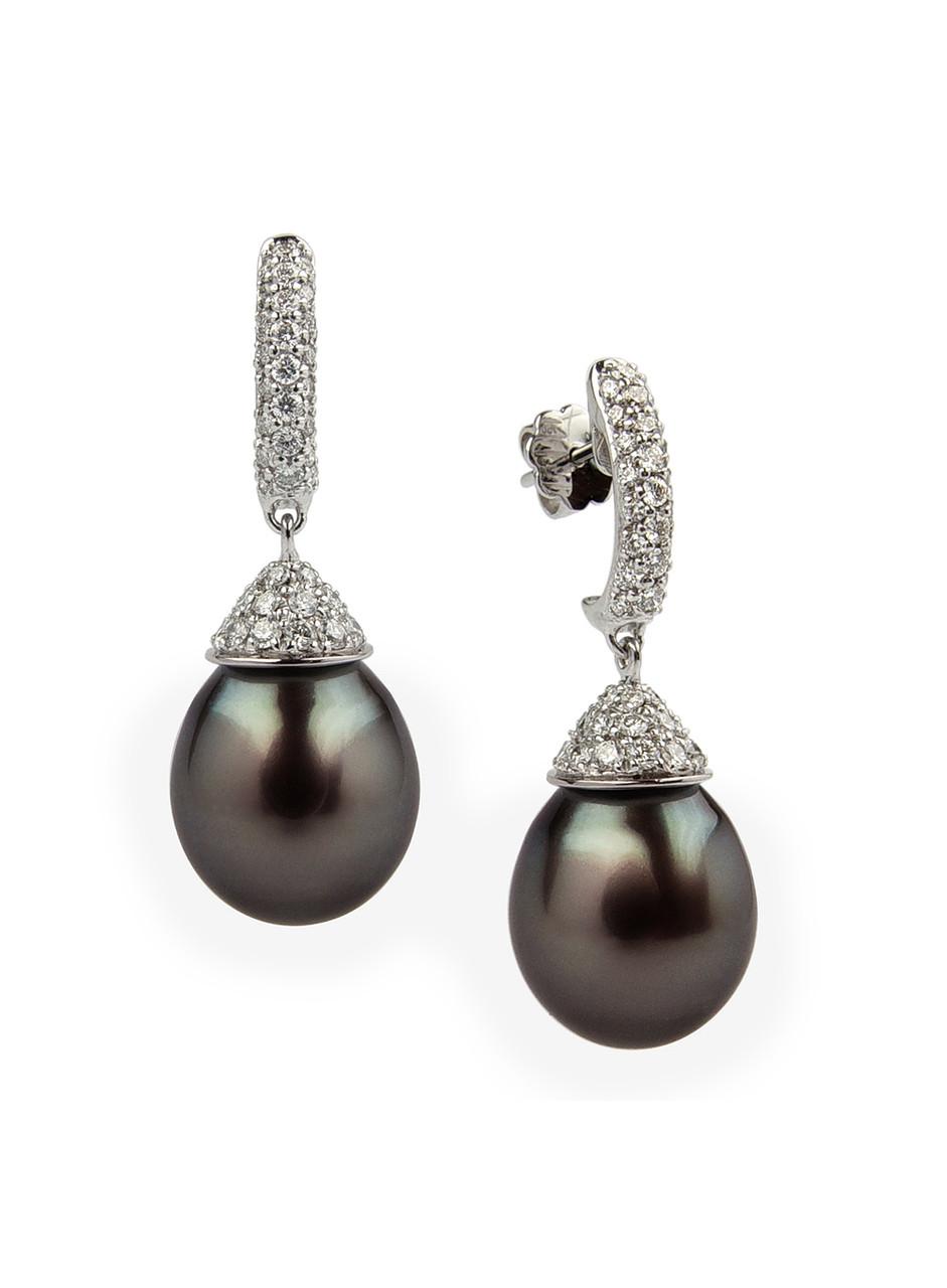 Equisite 18K Tahitian Cultured Pearl And Diamond Dangle Earrings