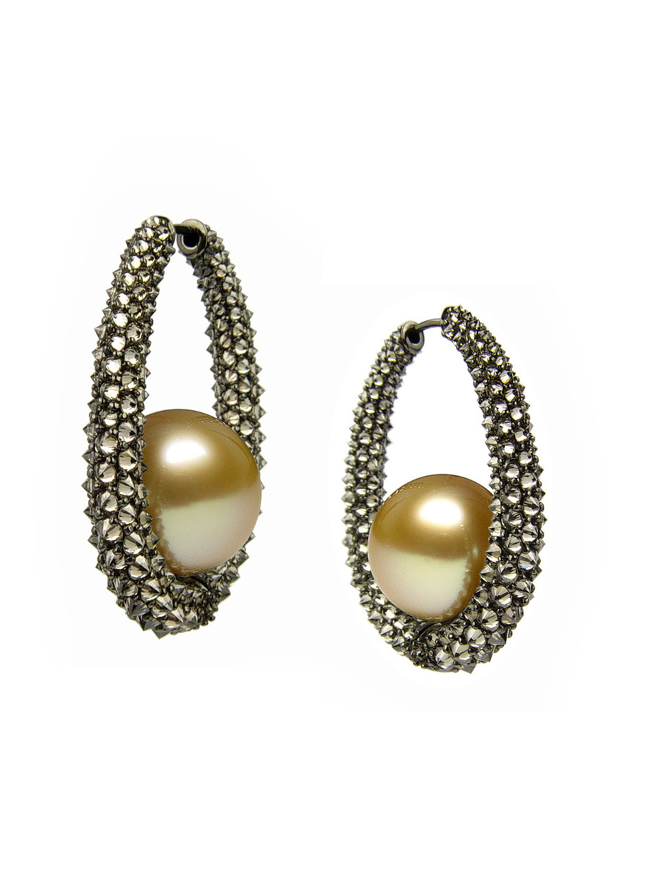 18K Golden South Sea Cultured Pearl And Diamond Aurora Eclipse Earrings