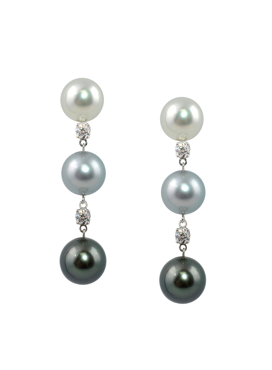 18K Cultured Pearl And Diamond Drop Earrings