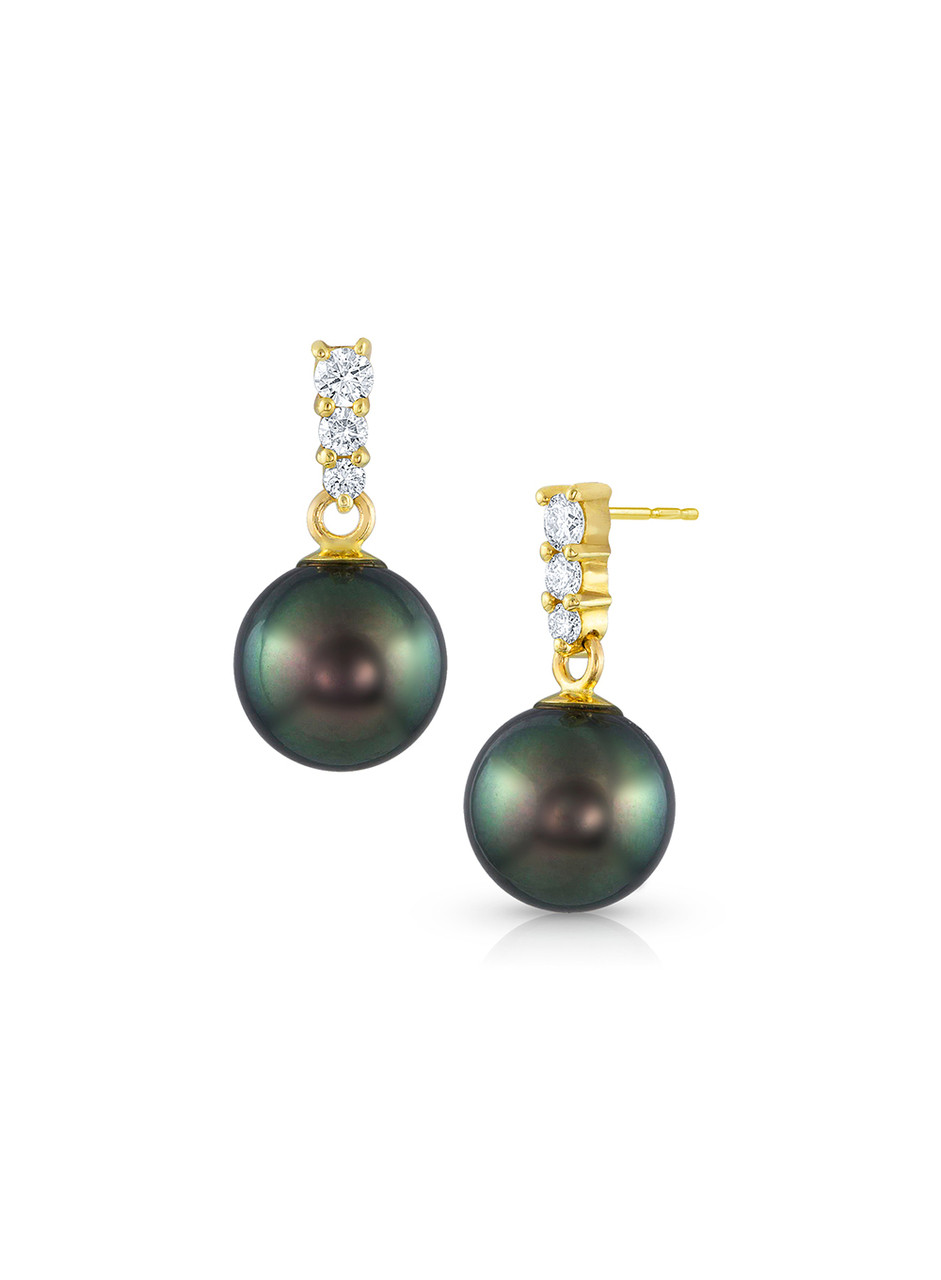 14KYG Tahitian Cultured Pearl And Graduated Diamond Dangle Earrings