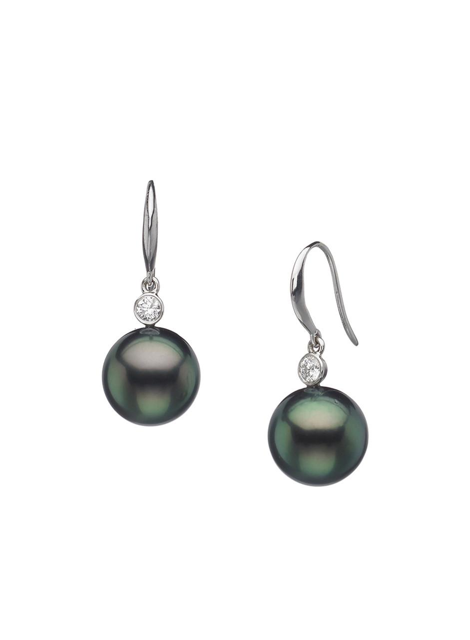 14K Tahitian Cultured Pearl And Diamond Shepherd Hook Earrings