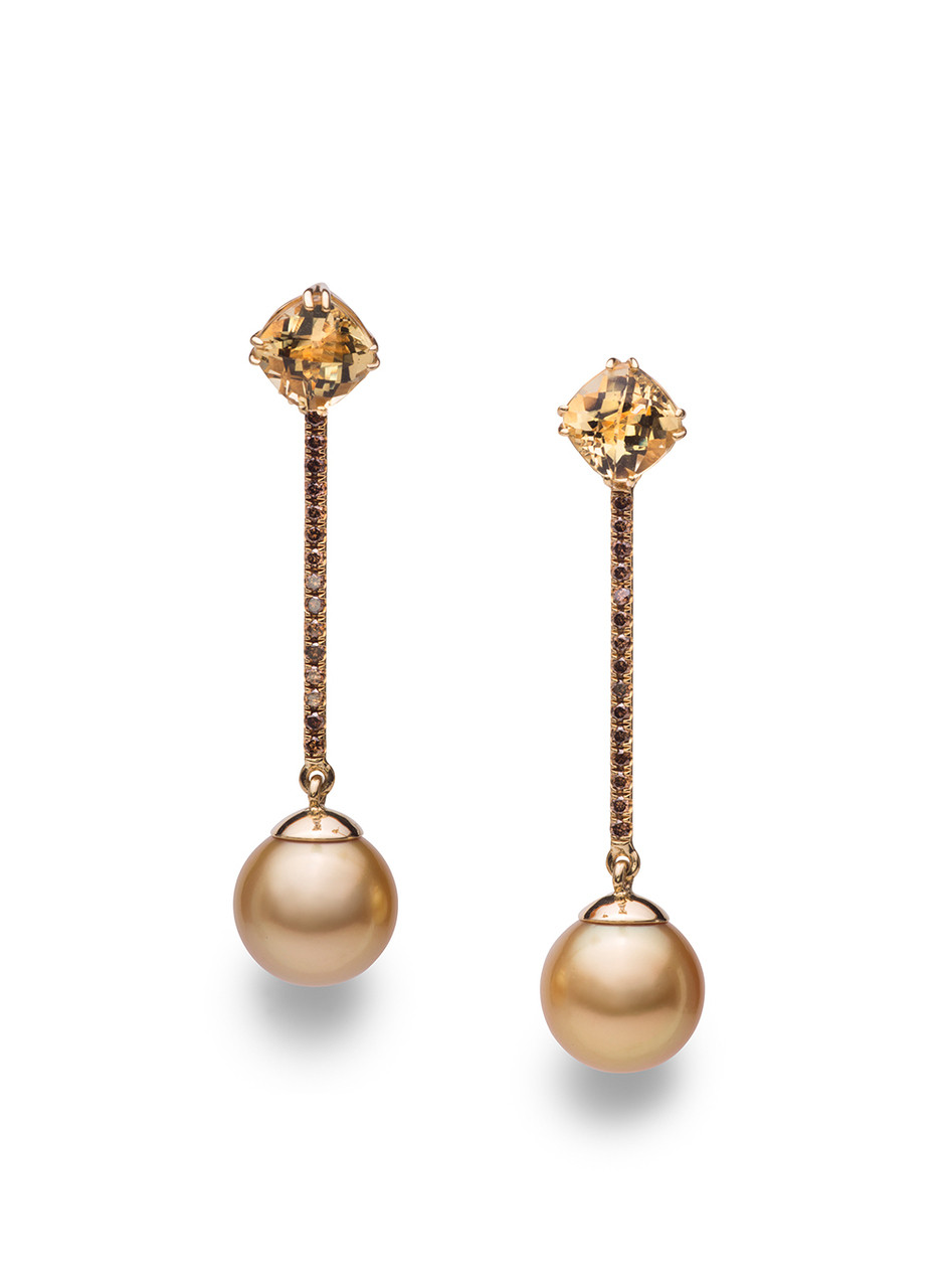 18KYG Golden South Sea Cultured Pearl And Beryl Dangle Earrings