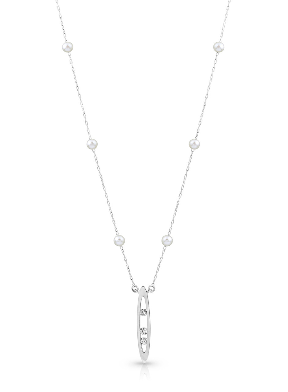 14KYG Pearl And Chain Necklace With Diamond Set Marquise Drop