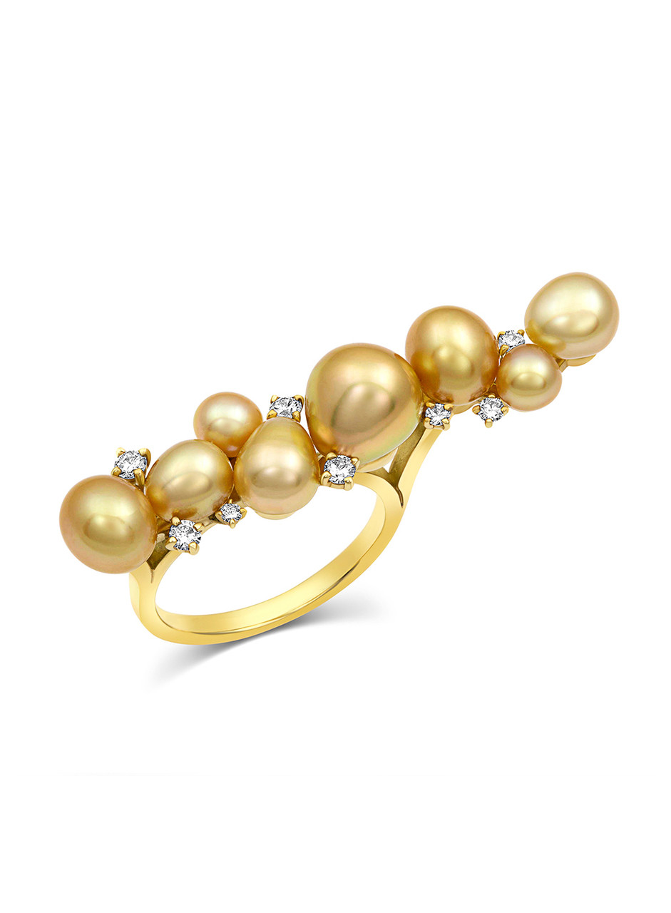 18KYG Ring With Golden South Sea Keshi Cultured Pearls And Diamonds