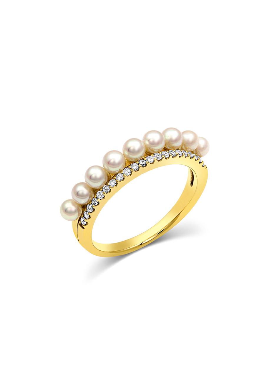 18K Diamond Champagne Baby Akoya Pearl Ring