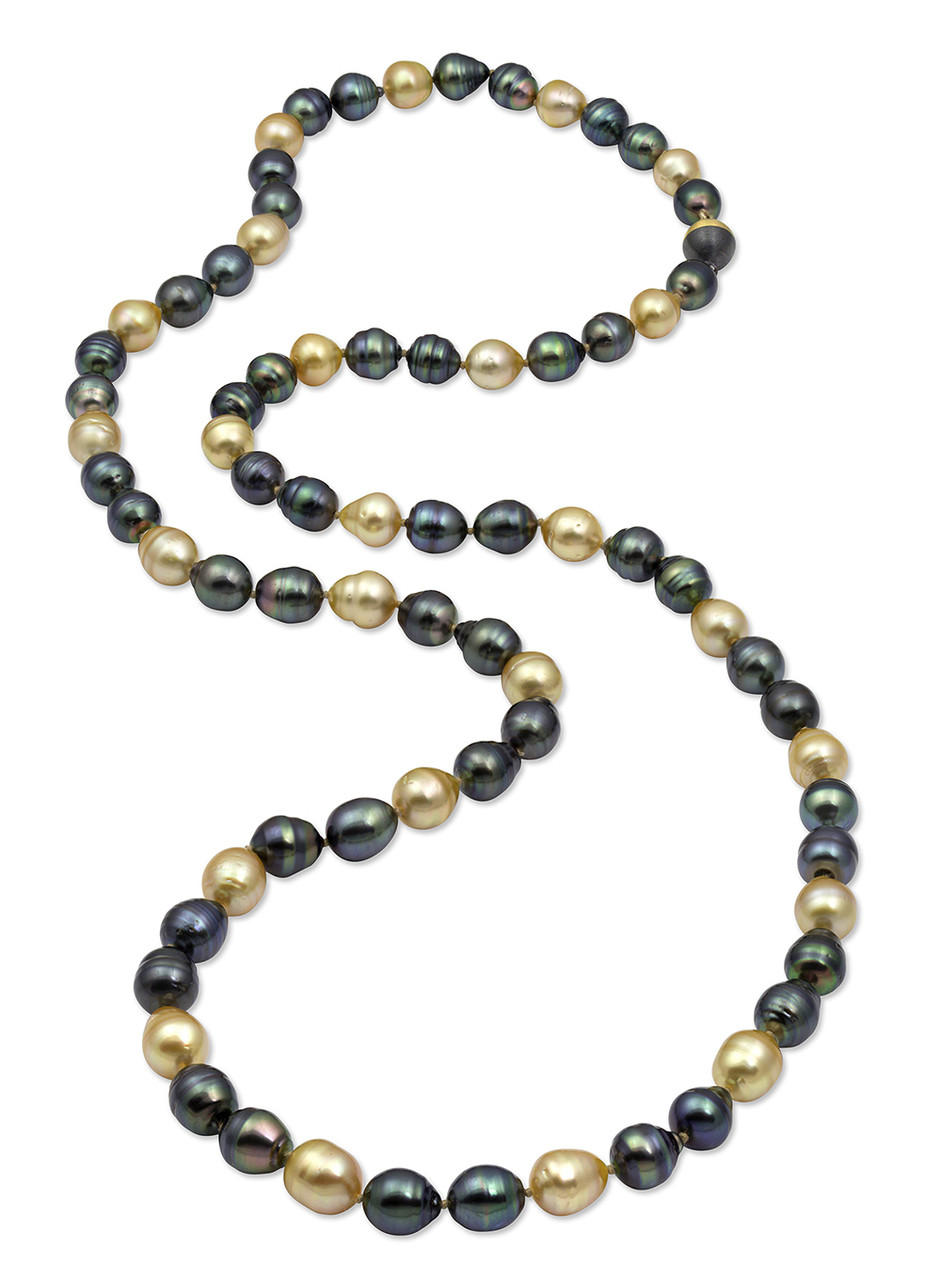Double Tahitian and Golden South Sea Drop Circle Pearl Long Strand