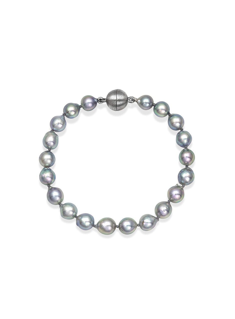 Natural Gray Color Akoya Pearl Bracelet