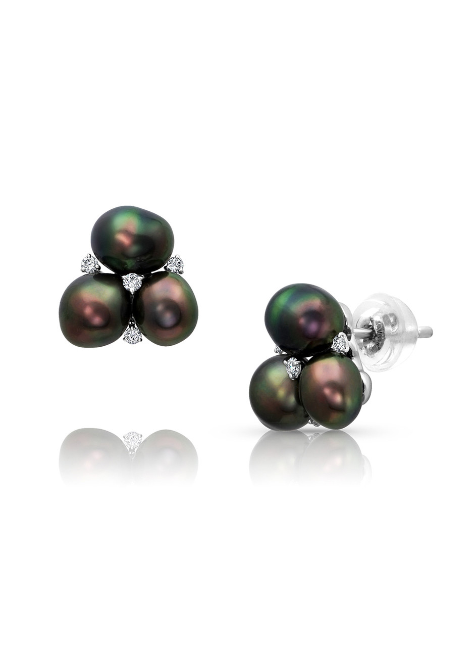 18KWG Three Tahitian Keshi Pearl Earrings