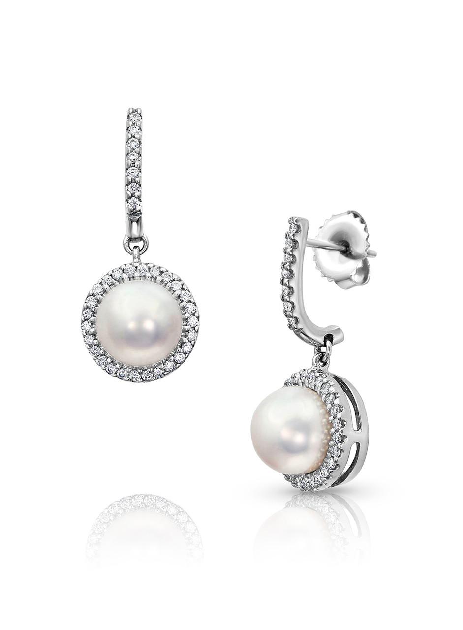 18KWG Halo Diamonds Akoya Pearl Dangle Earrings
