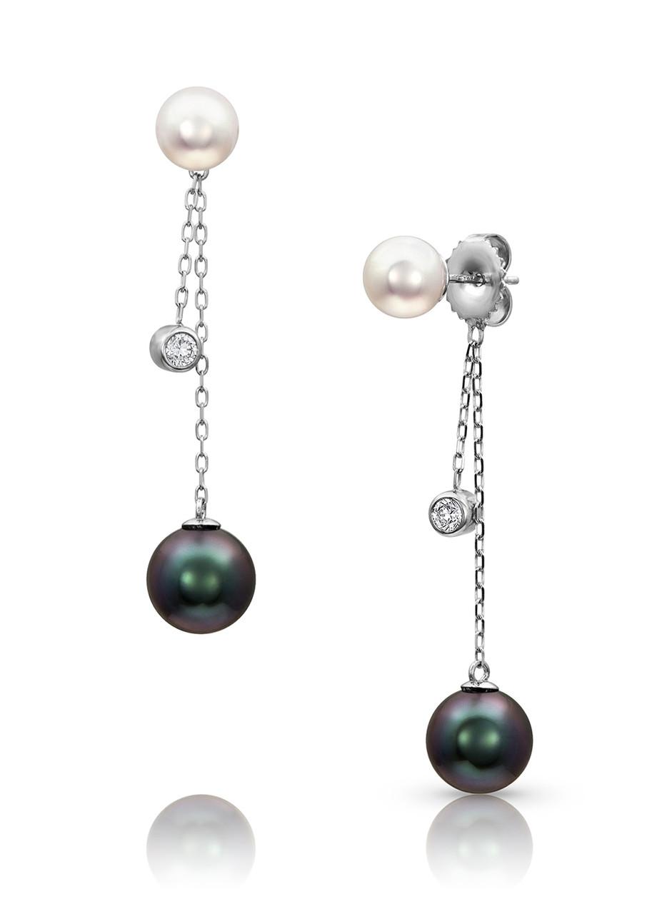 14KWG Multi Pearls Dangle Chain Earrings
