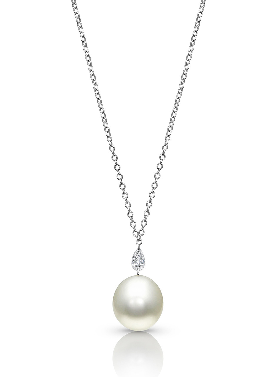 14KWG Pear Shaped Diamond White Pearl Pendant