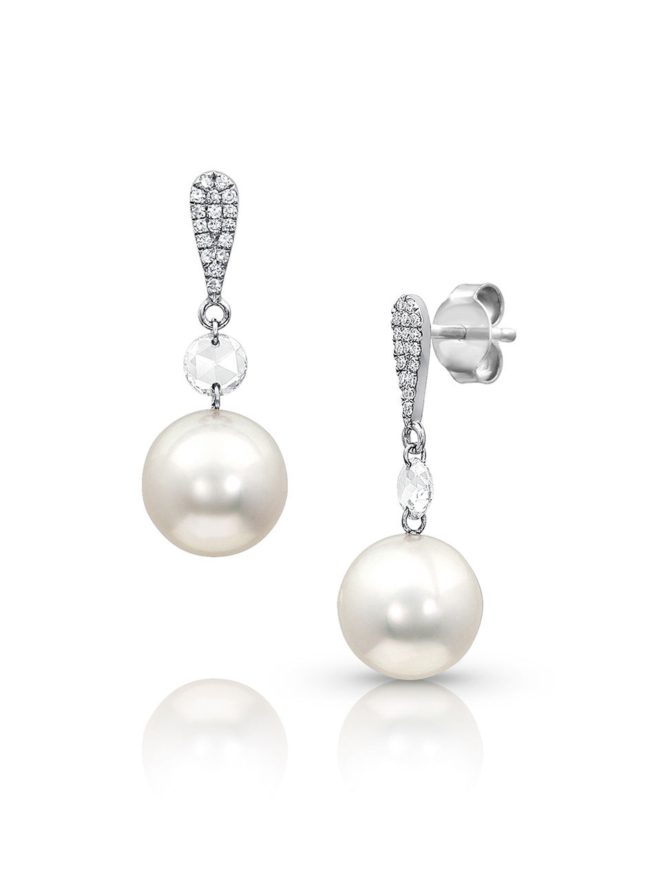 14K Earrings With Diamonds And Akoya Cultured Pearl Drop