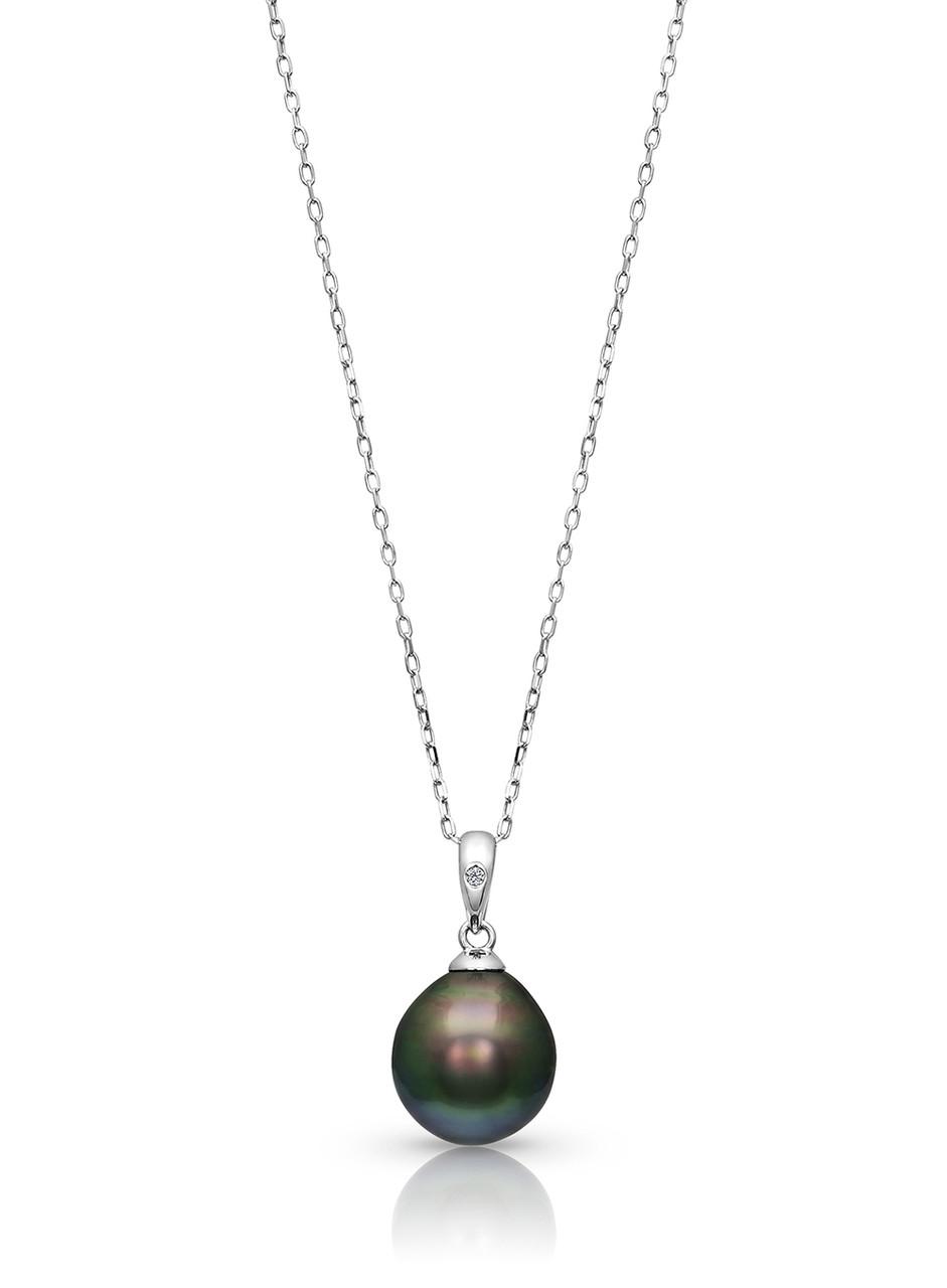 14KWG BIG Tahitian Cultured Pearl And Diamond Pendant