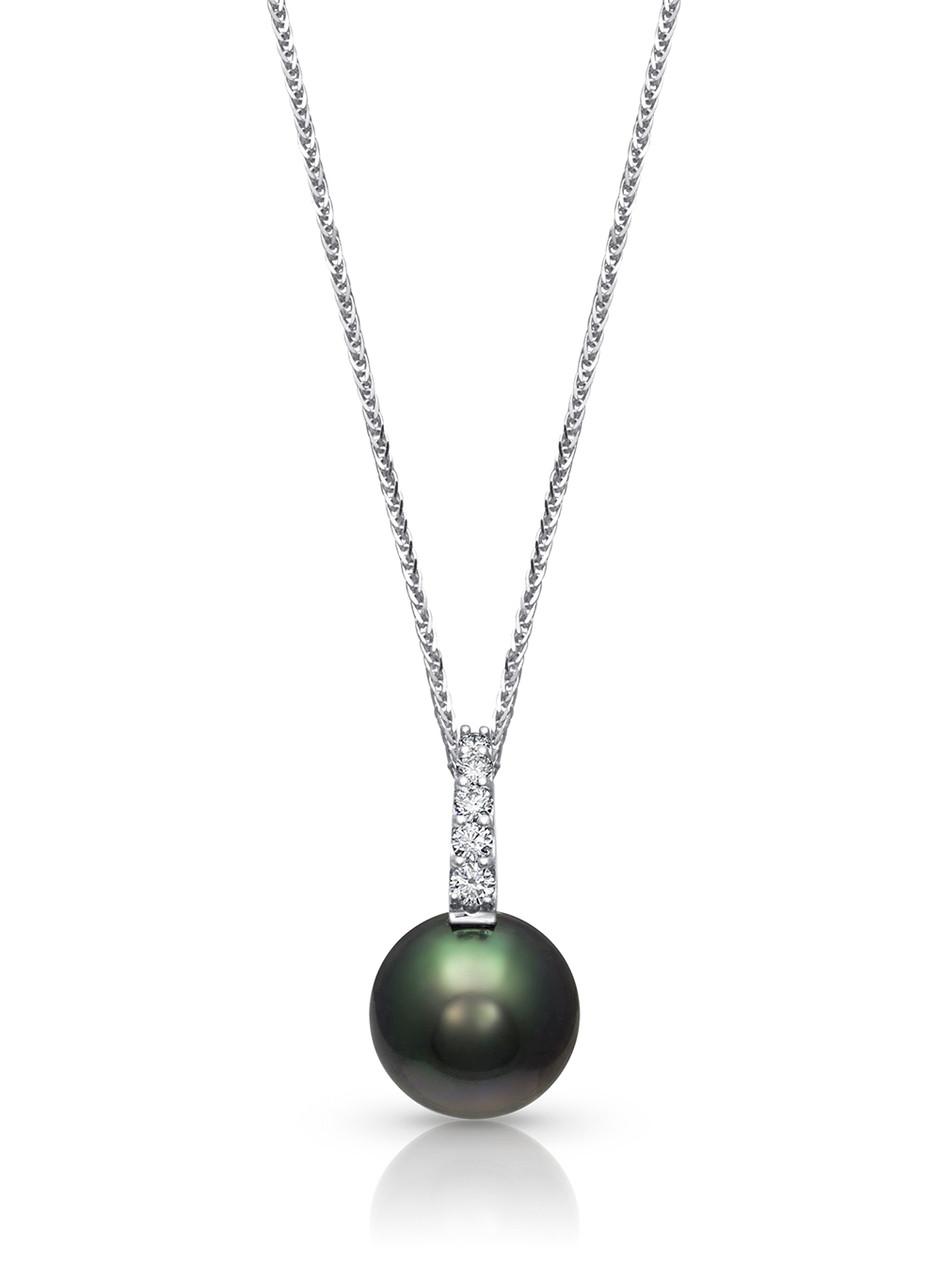 18K Tahitian Cultured Pearl And Pave Diamond Pendant