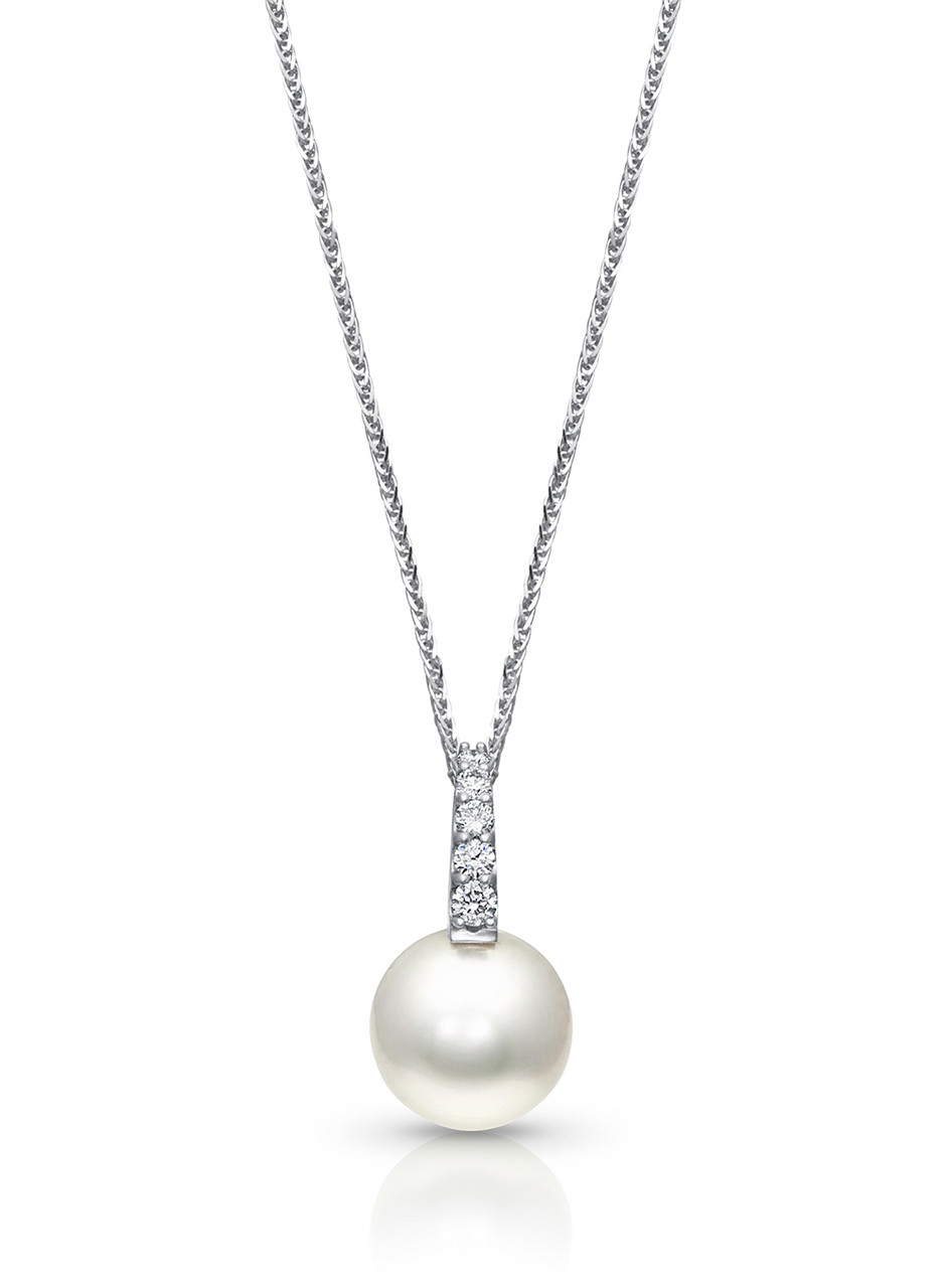 18K White South Sea Cultured Pearl And Pave Diamond Pendant