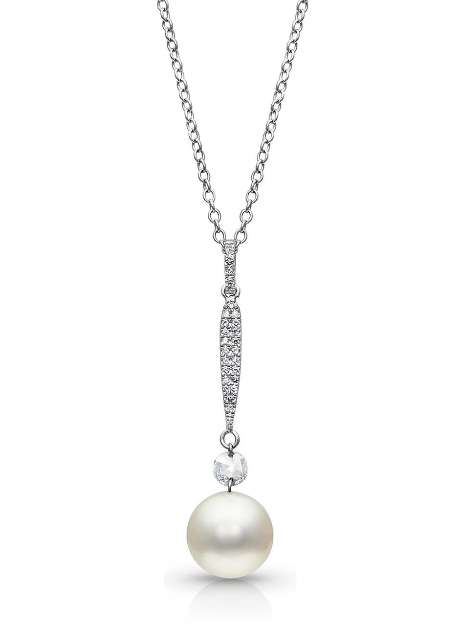 14KWG Akoya Cultured Pearl with Rose Cut Diamond Pendant