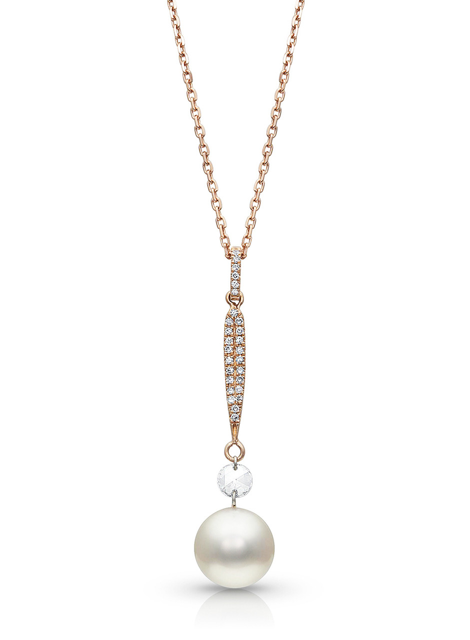 14KRG Akoya Cultured Pearl with Rose Cut Diamond Pendant