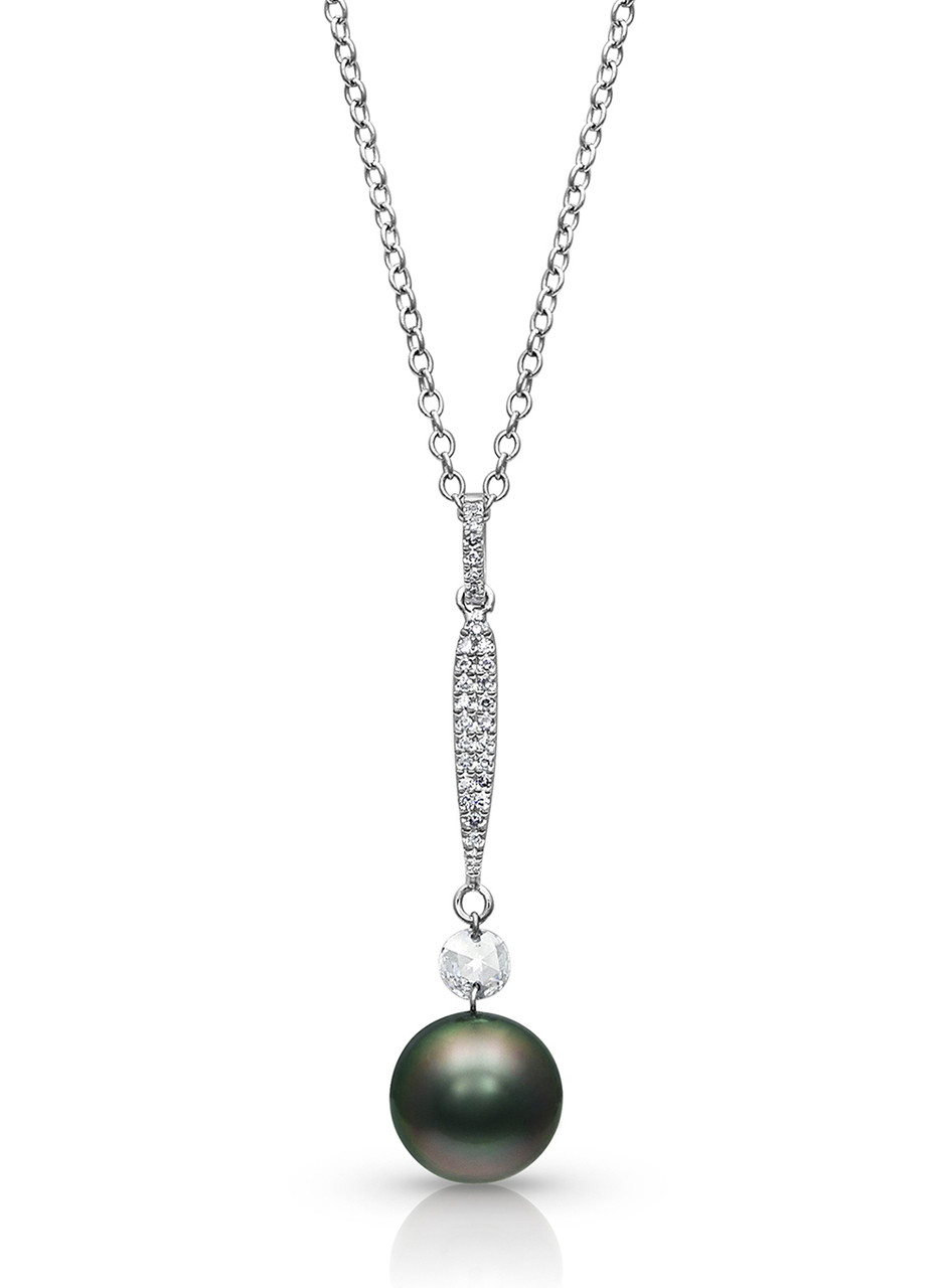 14KWG Tahitian Cultured Pearl with Rose Cut Diamond Pendant